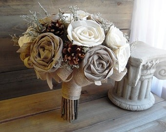 """Ready to Ship ~~~ Large Rustic Bridal Sola Flower and Pine Cone Bouquet, 10"""" wide with jute wrapped twig handle."""