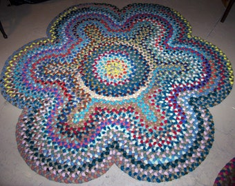 "New Not Antique Hand Handmade Folk Art Wool Floral Braided Rug 53"" Diameter  Available"