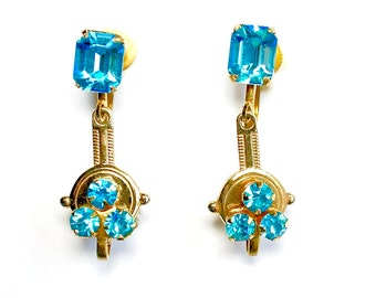 Vintage Art Deco Aqua Gold Rhinestone Earrings 1950s Jewelry Unique EXCELLENT CONDITION