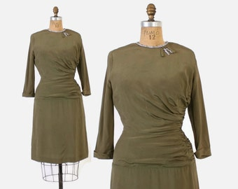 Vintage 40s Cocktail DRESS / 1940s Sage Green Crepe RHINESTONE Trimmed Dress M