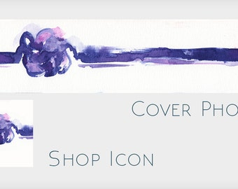 Abstract Blank Etsy Shop Banner Design -  Make Your Own Etsy Banner - Purple Abstract Watercolor Shop Banner Without Text