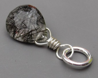 Black Rutilated Quartz Pendant, Rutile Quartz Charm, Sterling Silver Wire Wrapped Pendant,  Heart Briolette  with Jump Ring Stone 90