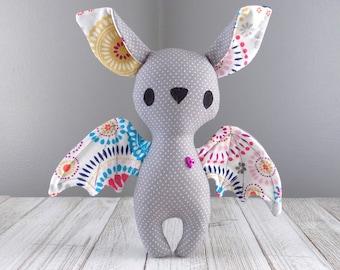 Bat stuffed animal, cute bat plushie in grey, stuffed toy bat, kawaii plushie, unique stuffed animal