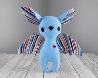 Bat, Stuffed toy bat, Bat stuffed animal, bat plush toy in light blue, kawaii plushie bat, halloween bat