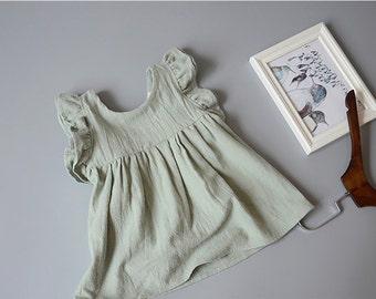 BLACK FRIDAY SALE Mint Green White Girl Dress Toddler Baby Cotton Ballerina Frock Infant Cute Flutter Sleeves Elsa Dress cyber monday sale