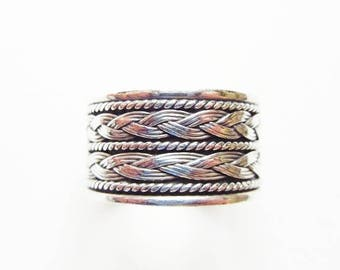 "Sterling Silver 1/2"" Wide Band Ring with Double Row of Celtic Braid, Size 6 1/2, Vintage"
