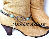 SINGLE Turquoise Boot Chains Heart Boot Jewelry Blacken Chain Boot Jewelry Boot Bracelets Foot Jewerly