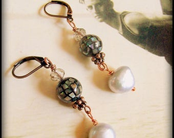Vintage Style Art Deco Silver Pearl Earrings, Art Deco Silver-Blue Pearls, Downton Abbey Earrings, Mermaid Earrings, Mosaic Pearl Earrings
