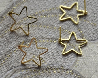 10 pcs New style Golden stars Ear Studs,Blank Earwires Findings,Earings Findings earring base findings