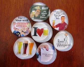 I Love BEER Magnets Set of 7 Glass Bubble Magnets