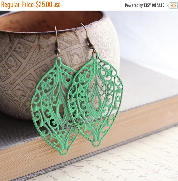 40% OFF SALE Patina Earrings Large Filigree Earrings Jade Green Patina Leaf Long Dangle Earrings Patina Jewelry Bohemian Accessories Lace Dr