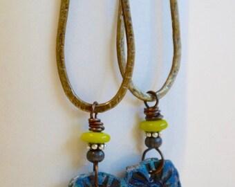 Long Brass Earrings, Metal Tear Drop Earrings, Funky Art Bead Earrings, Mod Earrings,  Bright Blue Earrings, Hammered Metal Earrings