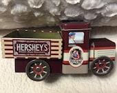 HOLIDAY 25% SALE Vintage Tin HERSHEY Chocolate Truck Tin Gift Box Advertising