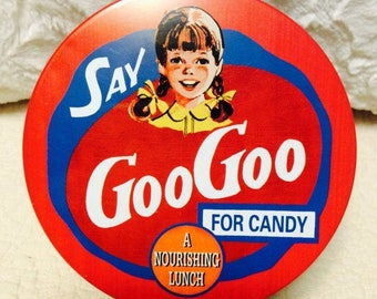 EASTER SALE Vintage Goo Goo Cluster Tin Box Candy Americana Advertising Red