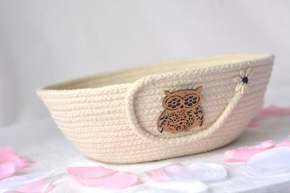 Natural Minimalist Bowl, Handmade Owl Basket, Modern Owl Clothesline Basket, Lovely Yarn Bowl,  hand coiled natural rope basket