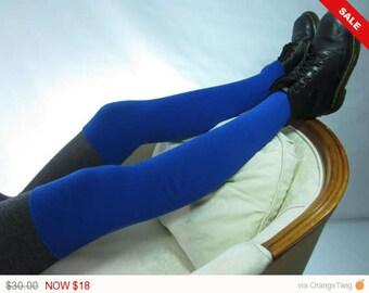 Sale -  Thigh High Leg Warmer Boot Socks Royal Blue Tall Long Cotton Knit Sock A1642