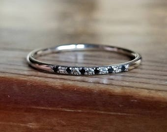 Black Diamond Ring White Gold Wedding Band Womens Wedding Band White Gold Band Black Diamond Band Diamond Wedding Band Wedding Bands Women