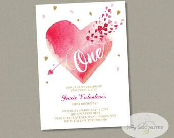 Valentine First Birthday Invitation | One, 1st Birthday, Watercolor Heart, Heart and Arrow, Pink and Gold | INSTANT DOWNLOAD