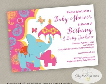 Elephant Baby Shower Invitation | Moroccan Baby Shower |Eelphant And  Butterflies | Instant Download |