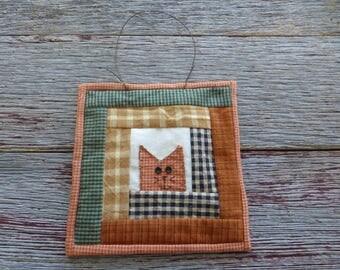 Primitive Cat Wallhanging, Cat Quilt, Rustic Quilt