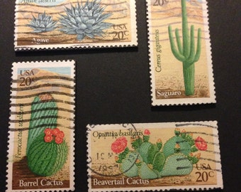 Four (4) Cactus Recycled Postage Magnets: Cactus, plant, agave, saguaro, beaver tail, desert plant, desert cactus