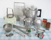 Vintage Aluminum Utensils Kitchen Travel Trailer Comet Coffee Pot Vaughan Can Openers Kwik Kut
