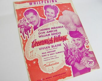 "Sheet Music Whispering From 1944 Movie  ""Greenwich Village"" Starring Carmen Miranda Don Ameche"