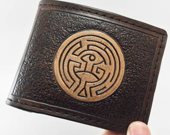 Maze - Westworld inspired Hand Tooled Leather Wallet