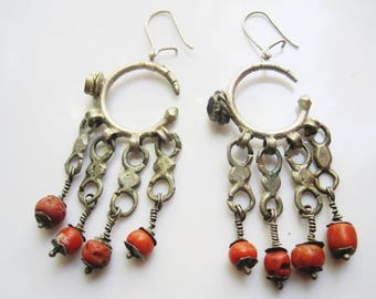 Antique Berber Earrings made of Silver and Coral Morrocan Hoops Amazigh Jewelry