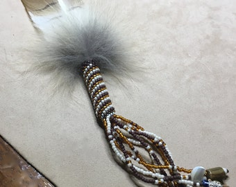 Redtail Hawk Peyote Stitch Saging Smudging Feather Wand