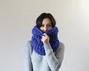 End of season SALE The Montpellier, chunky cowl infinity snood scarf - COBALT