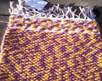 Team Spirit Set of Two Woven Hotpads by canfieldcreations Purple and Gold