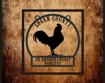 Rooster-Chicken farm sign, coop  or livestock award.