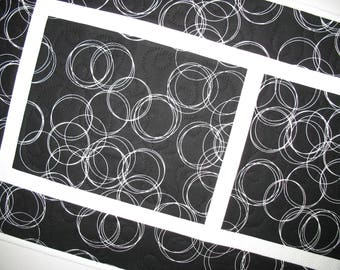 Modern Table Runner Black and White, Reversible quilted table runner, Floral Reverse, handmade