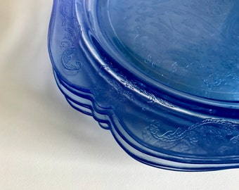 "Indiana Glass Company ""Recollection"" Blue Depression Dinner Plates"