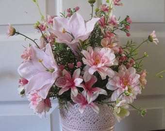 Spring Floral Arrangement, Pink Spring Flowers, Spring Summer Arrangement, Kitchen Island Centerpiece, Hostess Gift