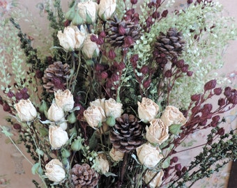 Dried Rose Flower Bouquet Floral Arrangement White and Wine Burgundy Pods Pepper Grass Pine Cones Meadow Grasses Holiday Chirstmas Winter