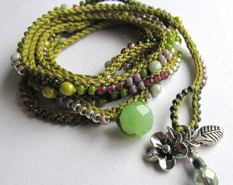"Holiday Sale! Olive and pink boho wrap bracelet / necklace, crochet bracelet, beaded, ""Nomad"",  boho jewelry, crochet jewelry, fall fashi..."