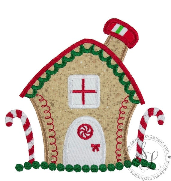 Christmas GingerBread House Applique Design Gingerbread