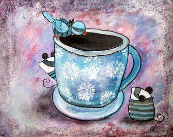 Original Wall Art Whimsical Coffee Bandits Mouse Bird Kitchen Decoration Childrens Room Decor Storybook Style Artwork Playroom Decoration