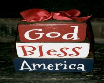 "4th of July ""MINI"" stacker wood blocks- God Bless America"