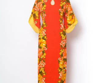 Vintage 60s Cocktail Dress / maxi dress / Party Dress / Floral / Vintage dress / Tropical dress / Tiki / Hawaiian dress / 70s dress / vlv