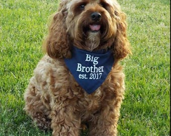 Big Brother or Big Sister Dog Bandana with Established 2017 or Established 2018
