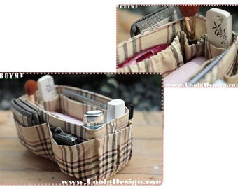 One Day Sale, Purse organizer insert Perfect for unstructured bags / Khaki Plaid / Medium 22x8cm