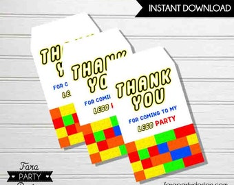 Building Blocks Birthday Party Printable Favor Tags by Fara Party Design | Thank You Tags