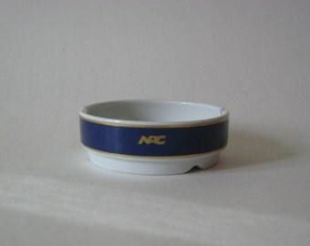 Porsgrund Norway Norwegian Cruiselines vintage caramic ashtray with gold detail NAC logo