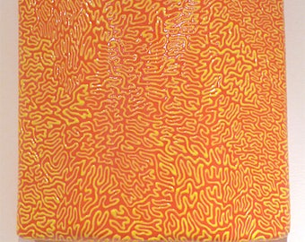 Wall Sculpture, Yellow Squiggle On Orange Landscape