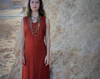 Sleeveless Long Raw Silk Dress~ Maroon~