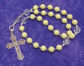 Anglican Rosary / Protestant Prayer Beads in Swarovski Pastel Yellow Crystal Pearls with Sterling Silver Cross