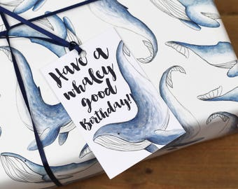 Whale Wrapping Paper Set - Have A Whaley Good Birthday - Birthday Wrapping Paper - Congratulations Wrapping Paper - Gift wrap for child